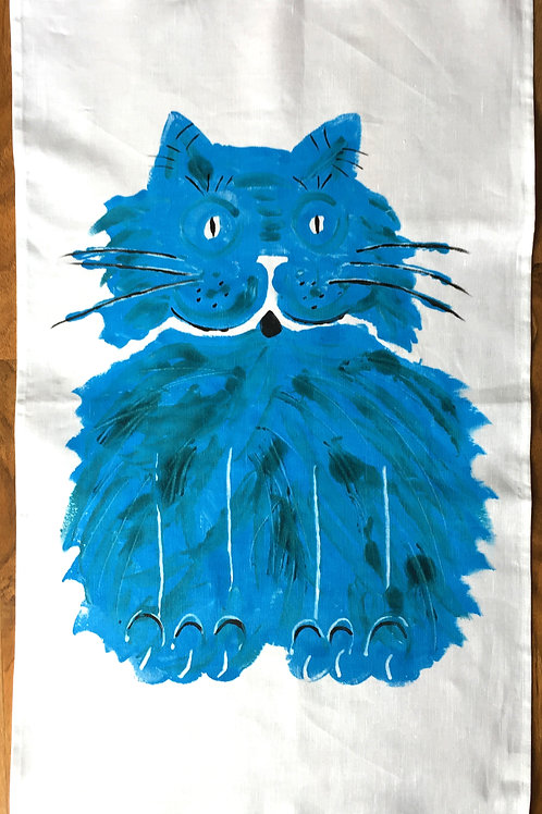 Fat Blue Cat - Tea Towel