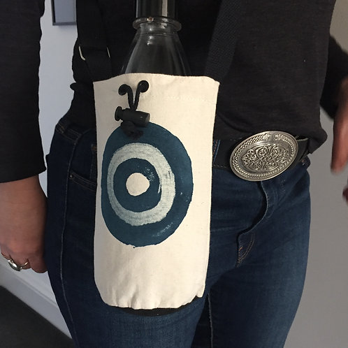 Denim Blue Target  Canvas Bottle Bag