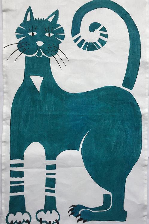 Blue Cat - Tea Towel