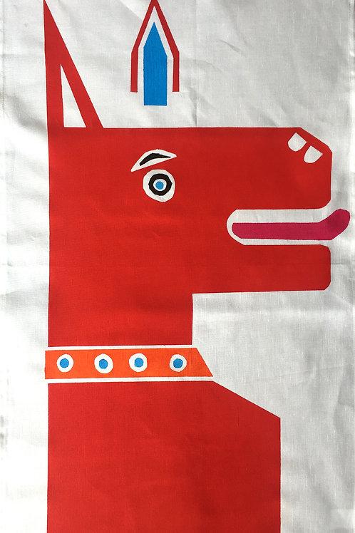 Charming Red Dog - Tea Towel