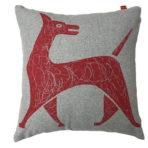 Dove Grey cushion Red  Dog