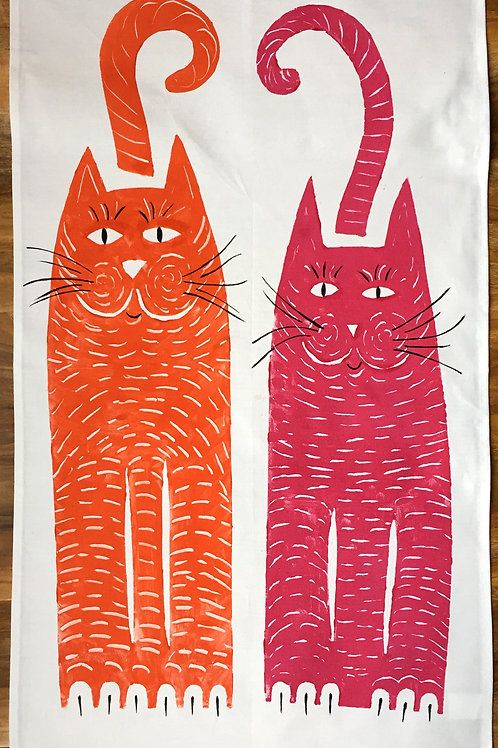 Orange and Magenta Cat - Tea Towel