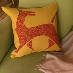Mustard-cushion_red-scribble-dog_insitu.