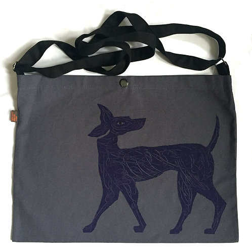 purple scribble dog on steel grey canvas bag
