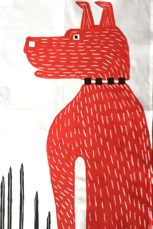Big Red Guard Dog - Tea Towel
