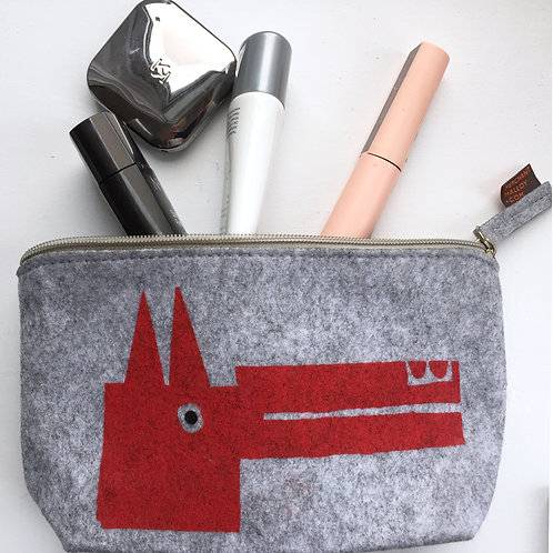 Red Dog Felt Small Accessory Bag