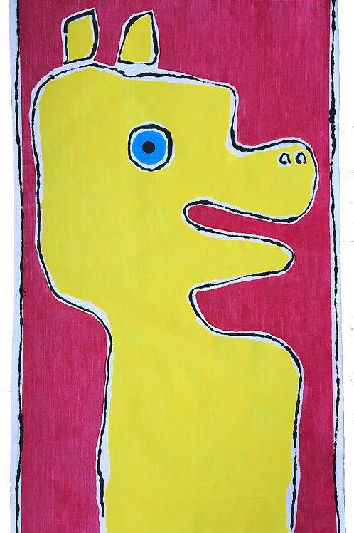 Old Yella - cartoon dog - Tea Towel