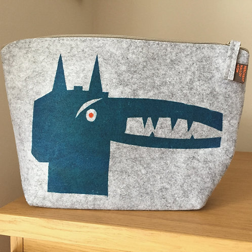 Peacock Blue Dog Felt Accessory Bag