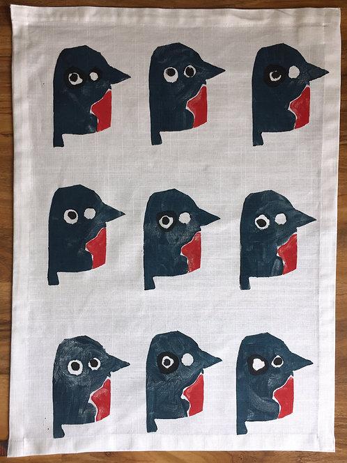 12 Robins on a tea towel