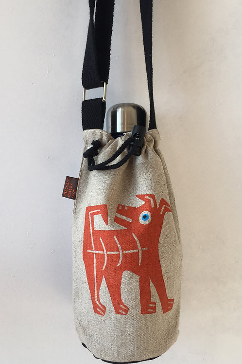 Quizzical Terrier Hemp Bottle Bag