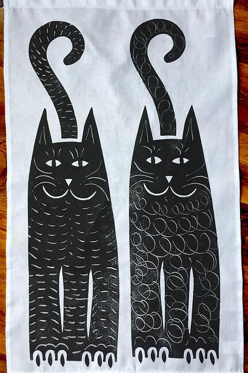 Two Black Cats - Tea Towel