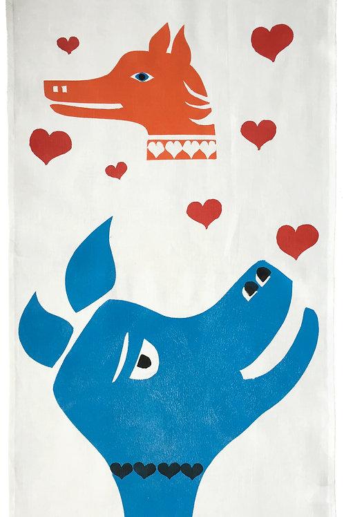 Love Lorn Dog Tea Towel