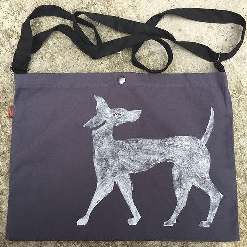 Ghost dog hand printed in white of steel grey lightweight canvas bag