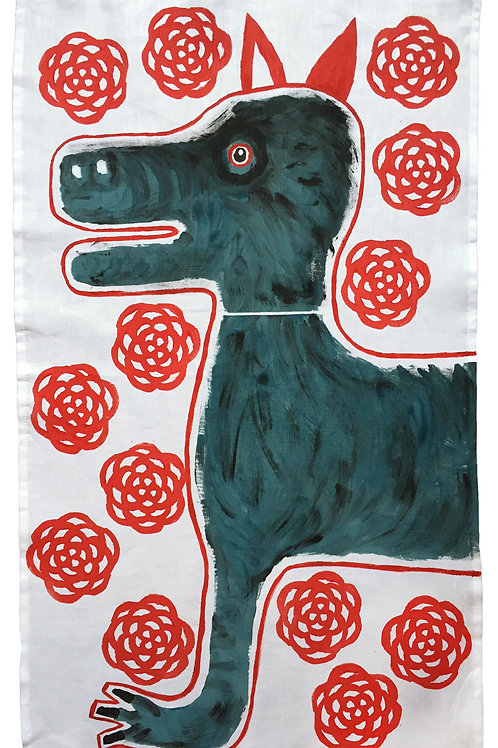 Hairy Dog In a Bed of Roses Tea Towel