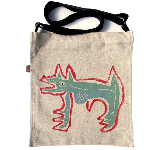 Devil Dog on Hemp gusseted crossbody Bag