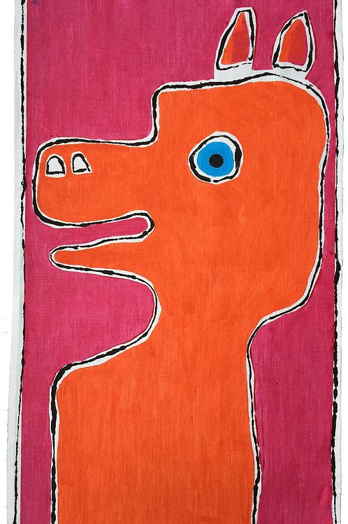 Orange - cartoon dog - Tea Towel