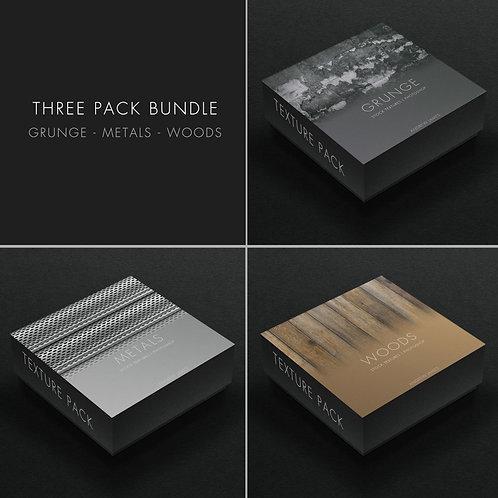 3 Texture Bundle Pack - WOODS, METALS & GRUNGE