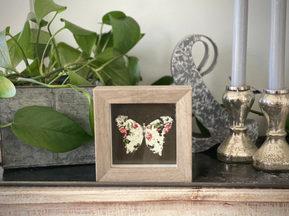 Handmade~Framed Fabric Butterfly Art