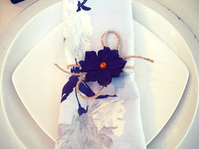 Place Setting & Handmade Napkin Wraps