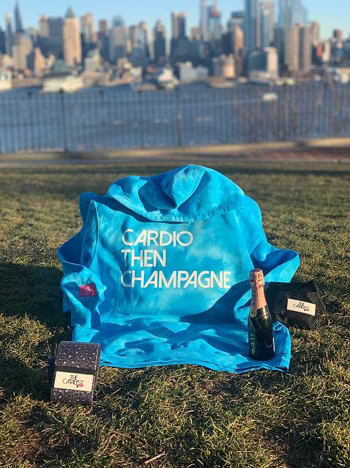 Cardio then Champagne Blue Tie Dye Sweatshirt
