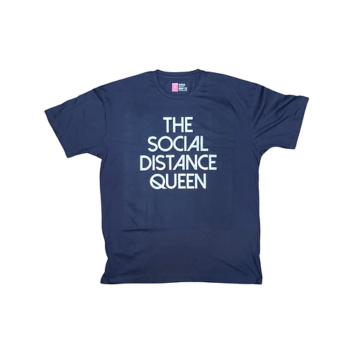 The Social Distance Queen:navy blue tshirt