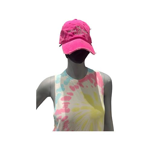 The Social Distance Queen hat: Neon Pink