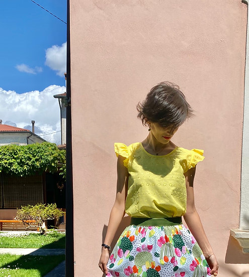 Camicia gialla sangallo