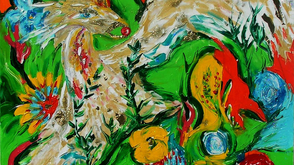 Картина «Симург»,  82×82 см. Холст, масло, вкрапления сусального золота