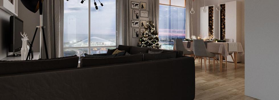 Гостиная общий вид на панораму Олимпийск