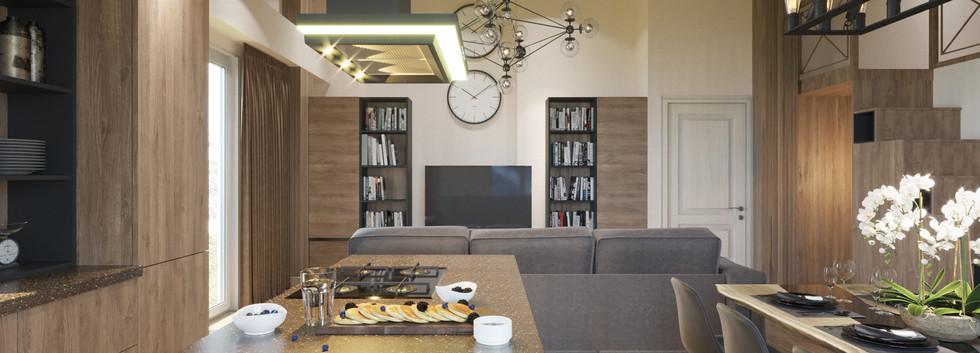 Дизайн проект 2-уровневых апартаментов78кв.м., Лыжный курорт Горки Город 560, Красная Поляна
