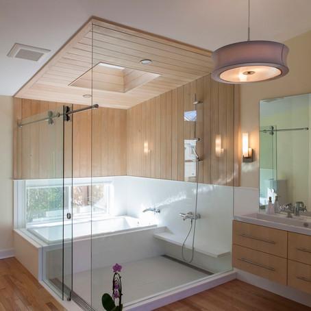 Скандинавский интерьер ванной комнаты.