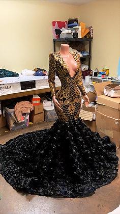 V Neck Gold/Black Mermaid Rosette Dress