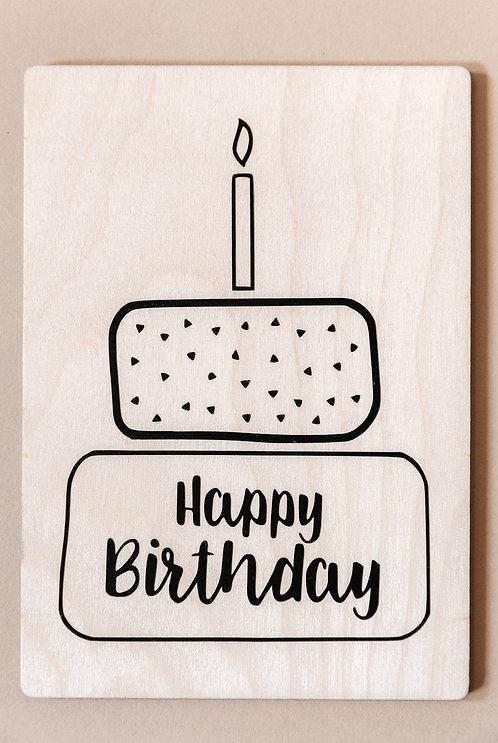 Holzpostkarte 'Happy Birthday'