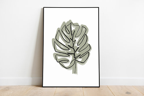 Poster 'One line monstera'
