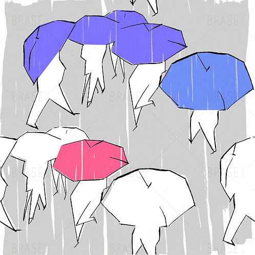 umbrellas and people