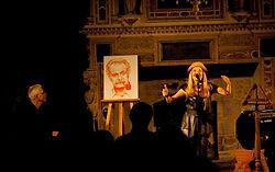 Portrait de Georges Brassens réalisé par C. Sutter lors des spectacles de la compagnie Confidences