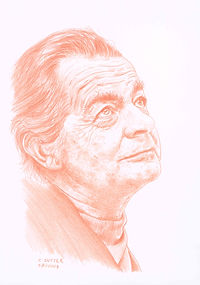 Portrait de Serge Reggiani à la sanguine par C. Sutter