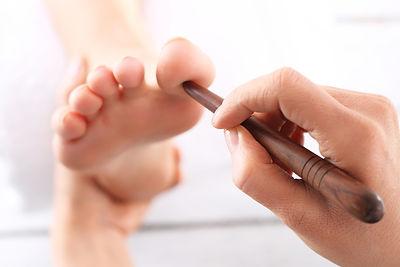 Foot massage, Foot reflexology.Natural m