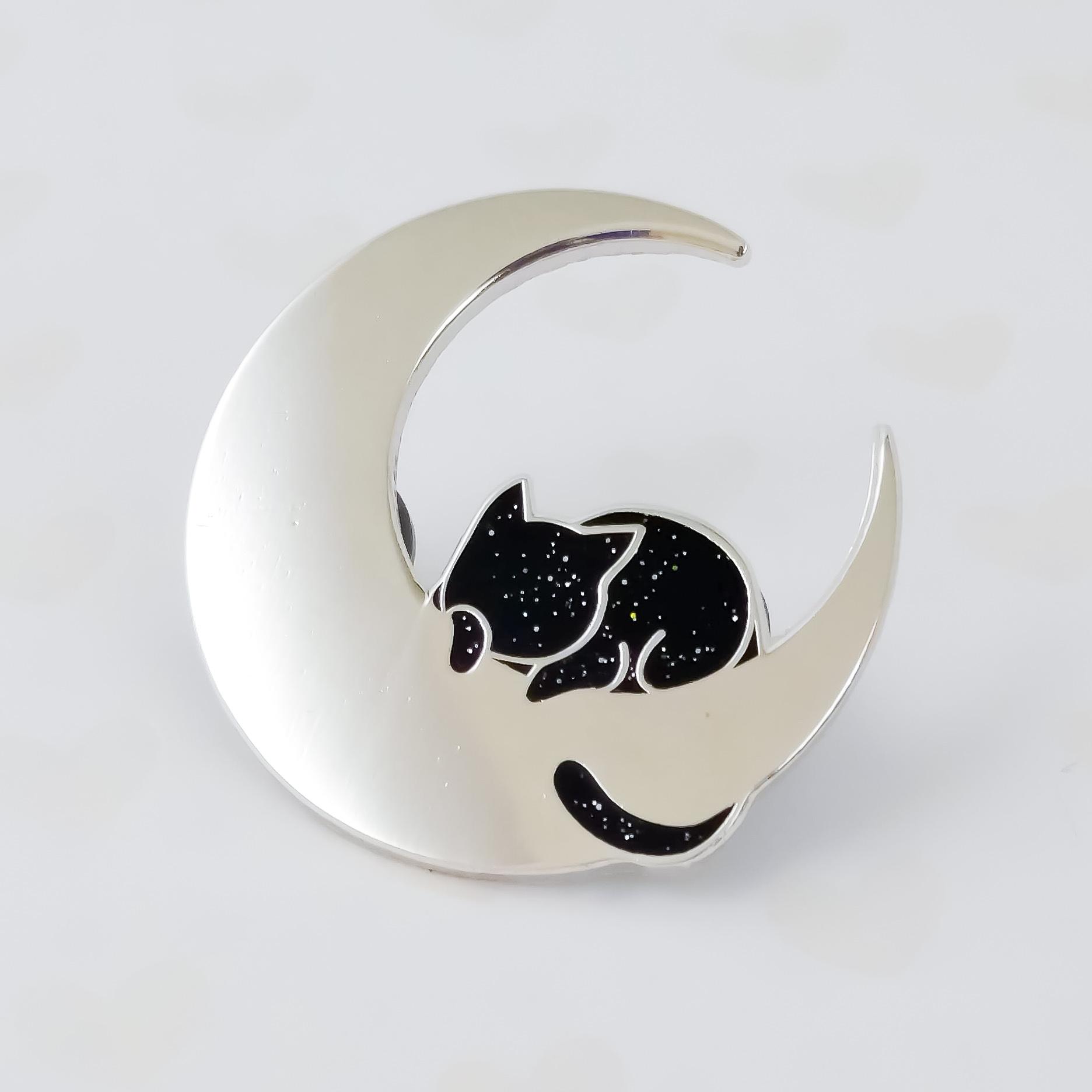 Cat on the Moon Enamel Pin
