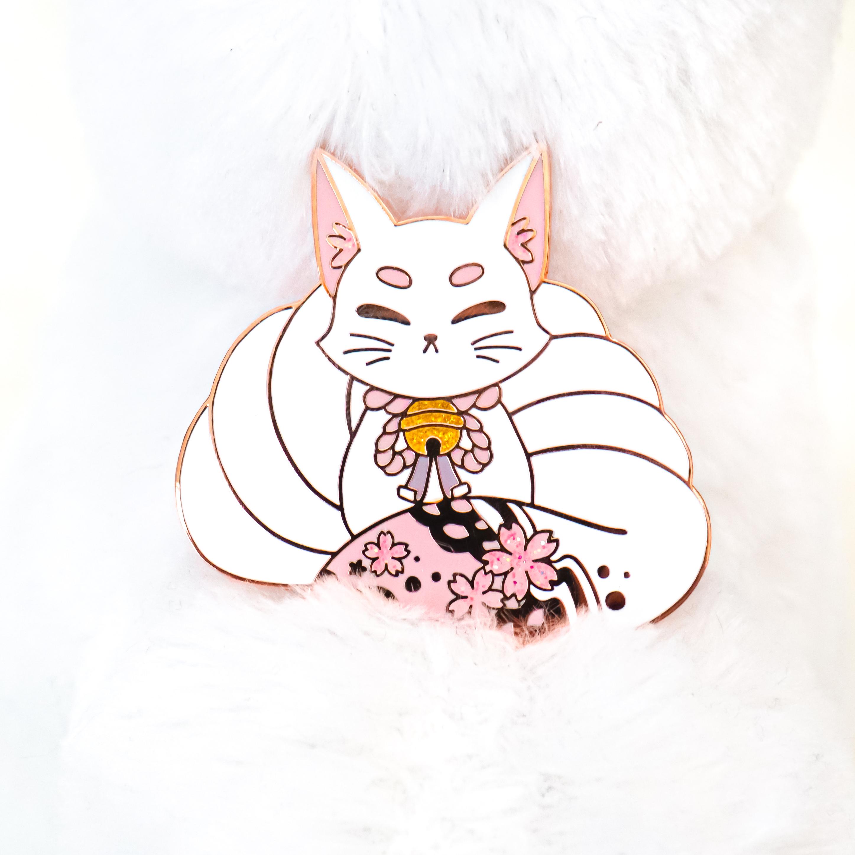 Pink Kitsune Enamel Pin