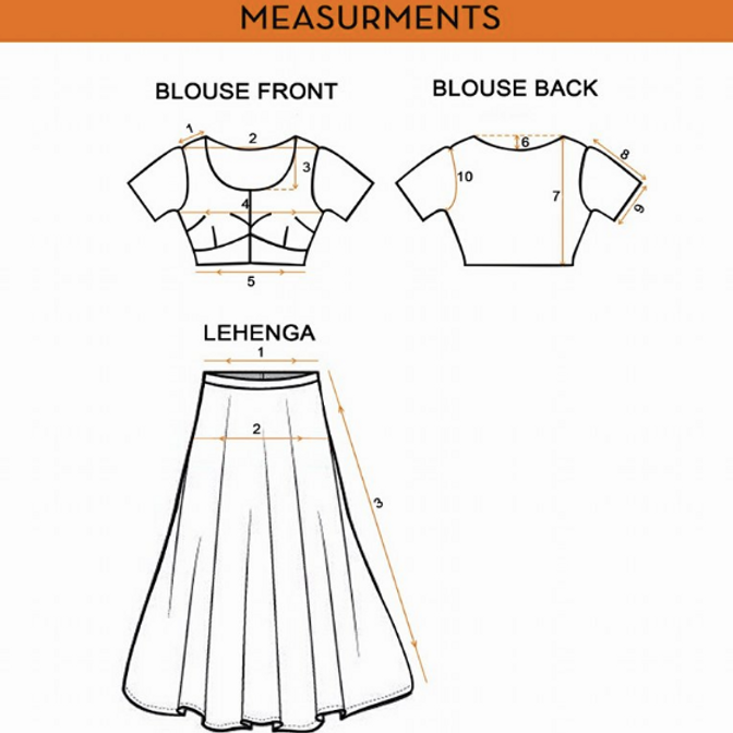 Image result for measurements for lehenga