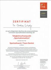zertifikat Sportzahnmedizin