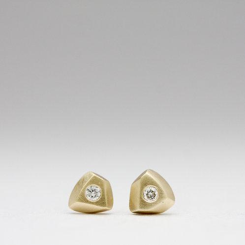 Chunk studs in 14k w/ diamonds