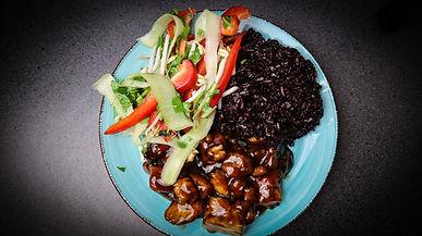 Tofu With Homemade Teriyaki Sauce and Cucumber & Bean-sprout Salad