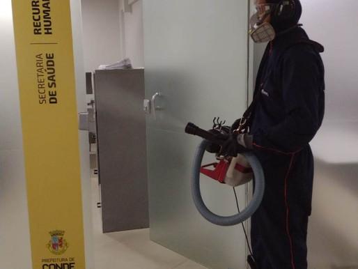 COVID: Prefeitura de Conde inicia sanitização de prédios públicos e frota municipal