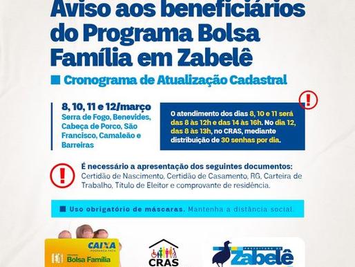 Prefeitura de Zabelê divulga cronograma de atualização cadastral aos beneficiários do Bolsa Família