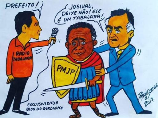 Relembrem a charge em que jornalista da Tabajara foi barrado em entrevista com o ex-prefeito Cartaxo