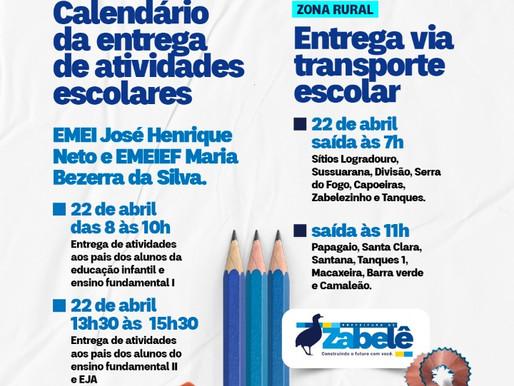 Prefeitura de Zabelê divulga calendário de entrega de atividades escolares