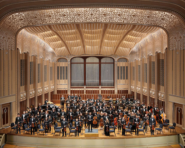 Full youth orchestra picture on stage at Severance Hall