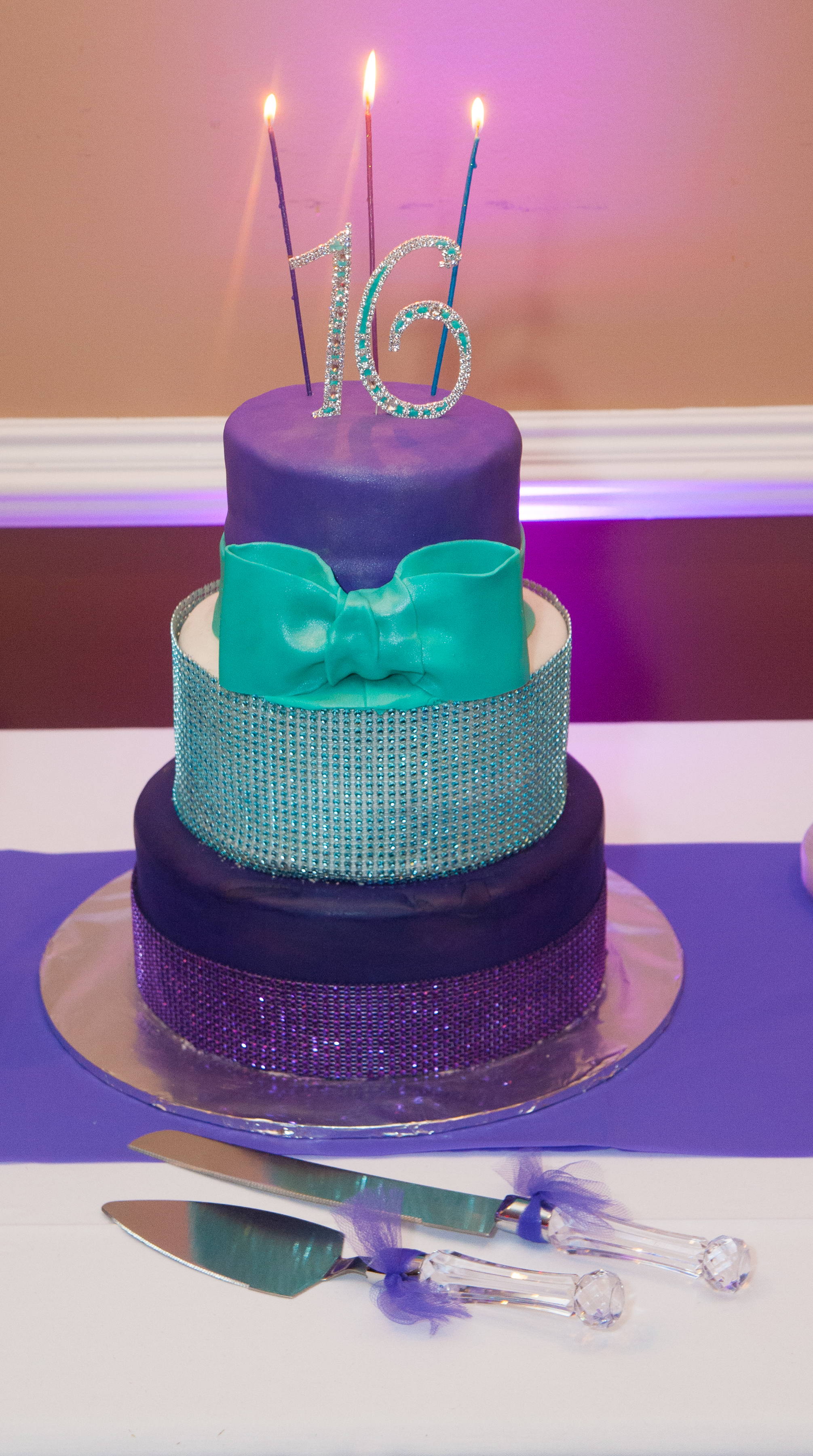 Sweet 16 birthday cake purple